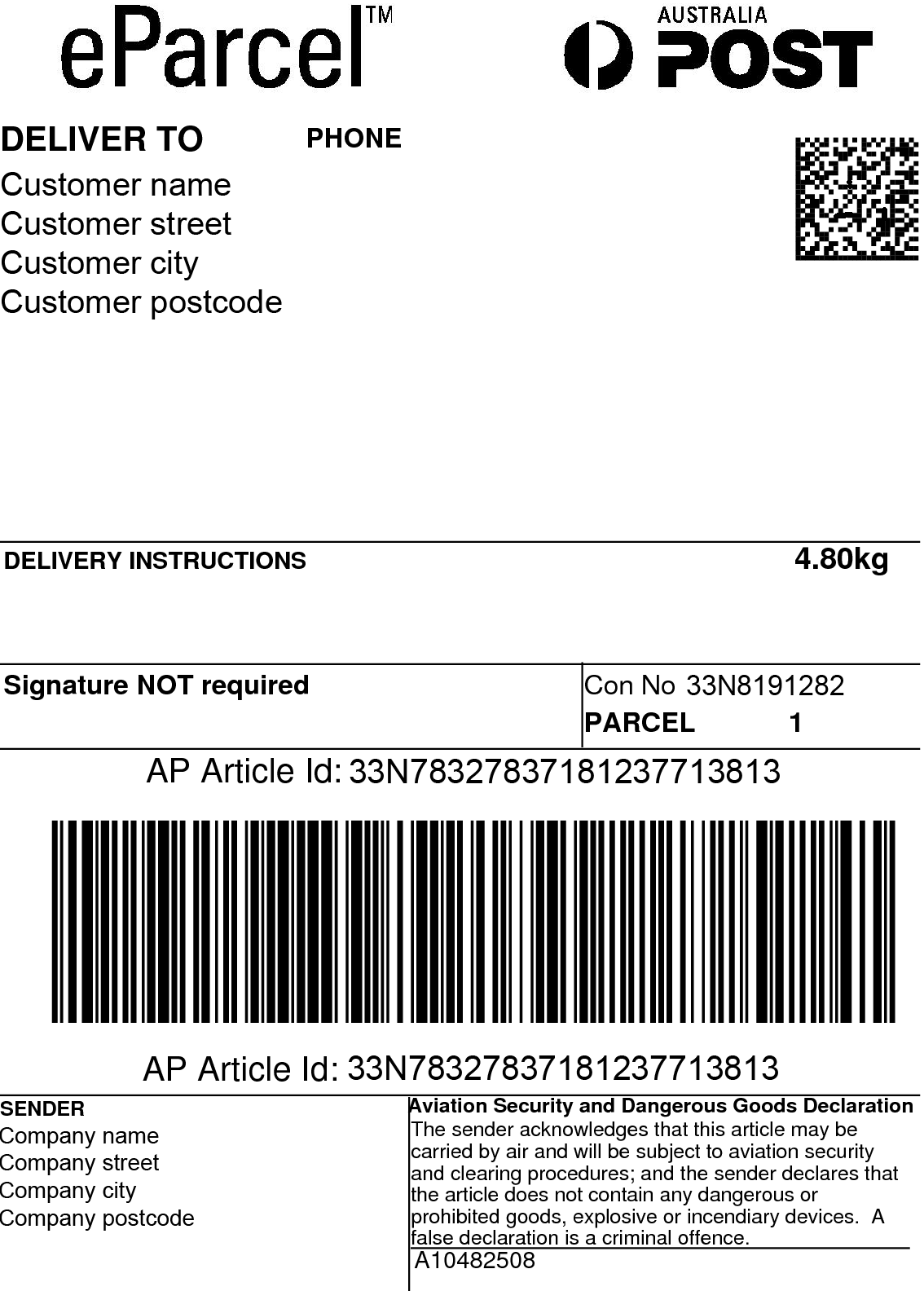 Australia Post Shipping Label