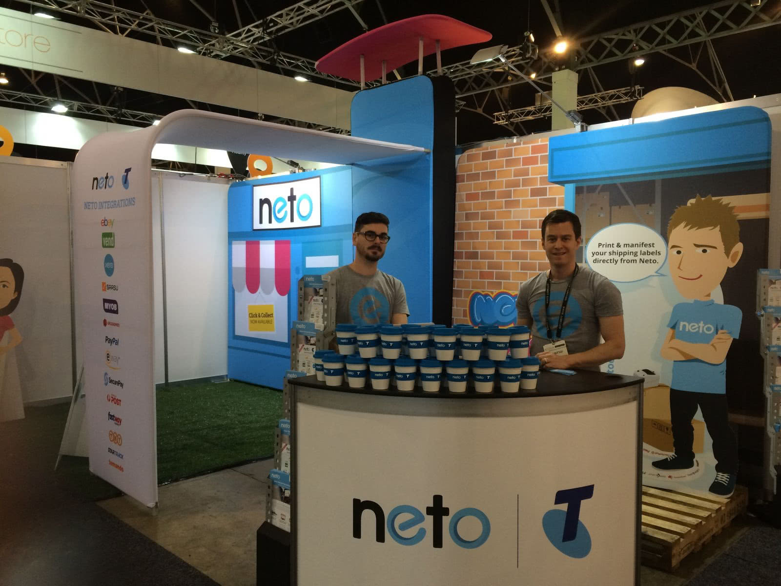 Jesse and Ryan manning the Neto stand at Online Retailer.